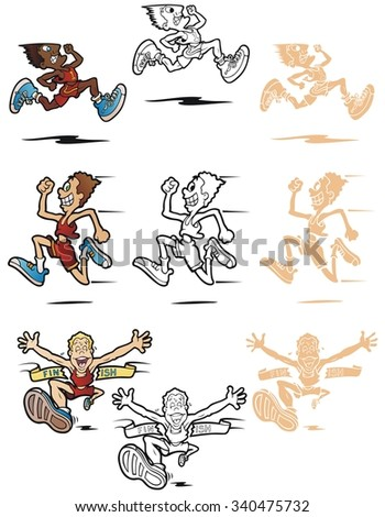 Three cartoon illustrations of men running. In full color, black outline, and reverse for printing on dark backgrounds. - stock vector