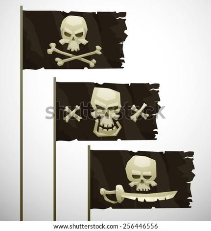 Three cartoon pirate flags, vector - stock vector