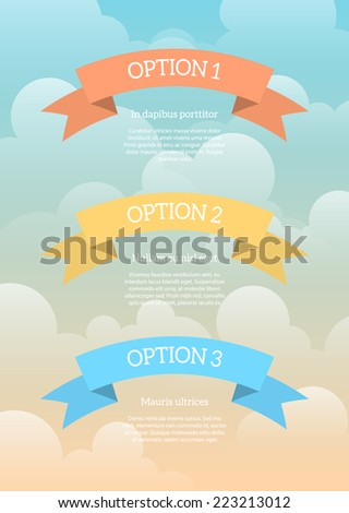 Three cartoon ribbons in the sky with some sample text. Cool for children infographics or presentations. EPS10 vector illustration. - stock vector