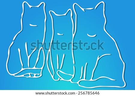 Three Cats - stock vector