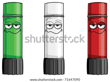 three cheerful glue sticks (green, white, red) vector isolated illustration. Italian flag - stock vector