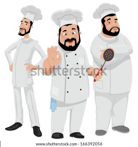Three Chefs-vector - stock vector