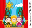 Three children in costumes performing a theater play on stage - stock vector