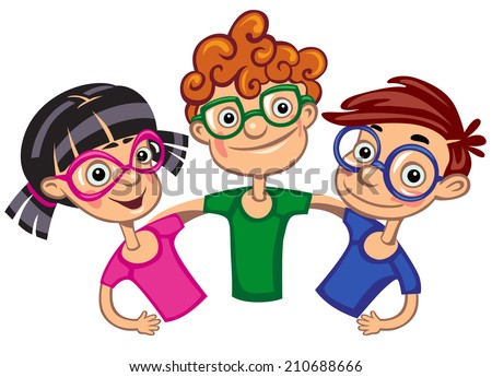 three children with glasses - stock vector