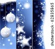 Three Christmas banners - stock vector
