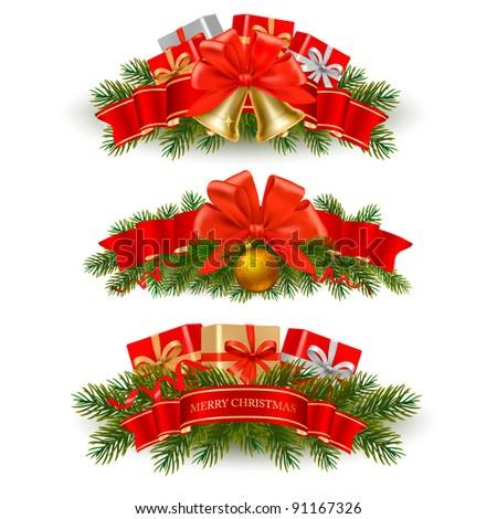 Three christmas banners. Vector. - stock vector