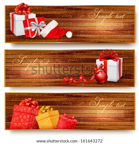 Three christmas banners with gift boxes and santa hat. Vector illustration - stock vector