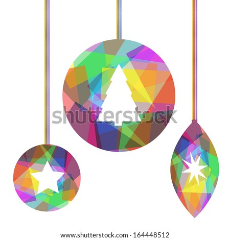 three christmas decorations with Christmas motifs