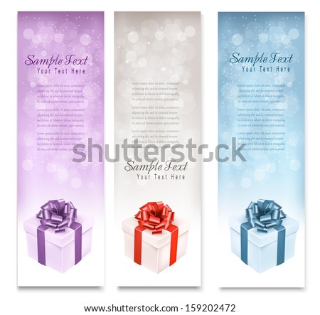 Three christmas gift banners. Vector. - stock vector