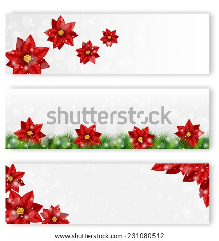 Three Christmas leaflets with flowers of poinsettia in snowfall - stock vector