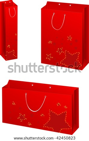 Three christmas paper bags with stars design - stock vector