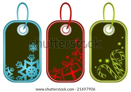 Three Christmas price tags isolated on a white background.