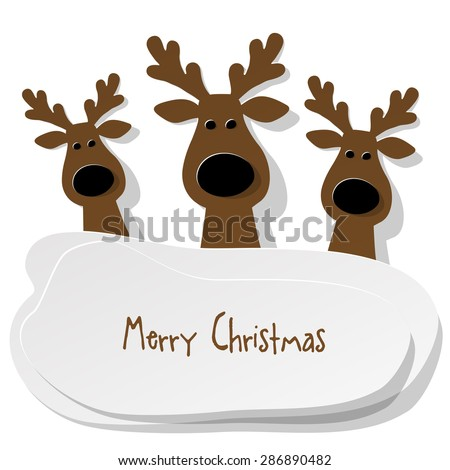 Three Christmas Reindeer brown on a white background - stock vector