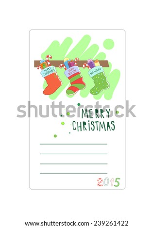 Three Christmas socks. Card for wishes. Vector illustration - stock vector