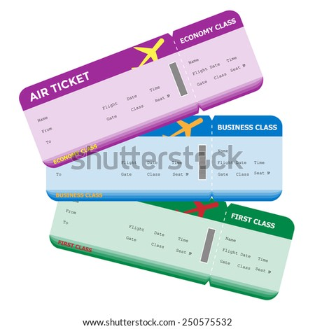 Three classes of blank flight boarding pass different colors. Vector illustrations. - stock vector
