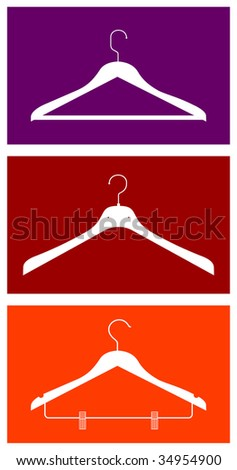 Three clothes hangers. Vector available - stock vector