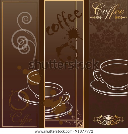 Three coffee design templates. Vector banners. - stock vector