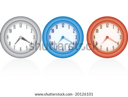 Three color and same design wall clock - stock vector
