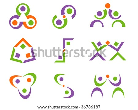 Three Color Business Person Related Abstract Vector Design Elements - stock vector