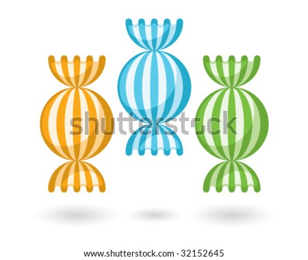 three color candies - stock vector