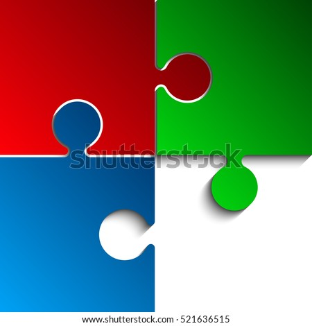 Three Color Rgb Piece Flat Puzzle Stock Vector 521636515 Shutterstock