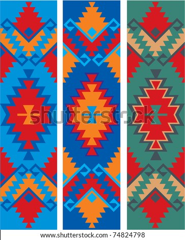 three color variants of the ethnic ornament - stock vector