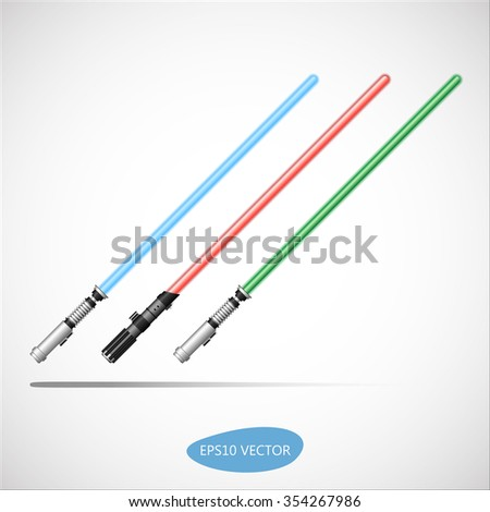 Three Colored Light Swords, Energy Sword - Futuristic Energy Weapon. Isolated Vector Illustration - stock vector