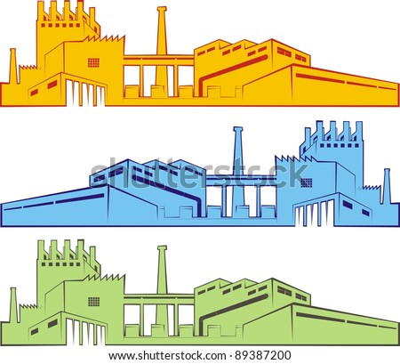 Three colorful cartoon outlines of factories / industrial facilities - color vector illustration set - stock vector