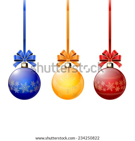 Three colorful Christmas balls with bow on white background, illustration. - stock vector