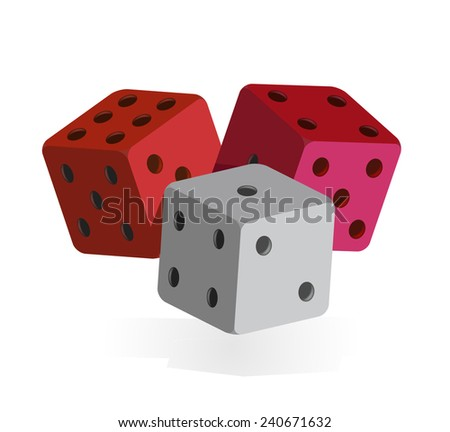 Three colorful dices (vector) - stock vector