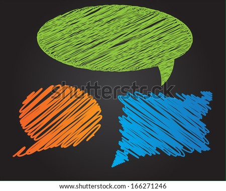 Three colorful  doodle style vector speech bubbles on dark background - stock vector