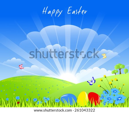three colorful eggs in green grass, flowers and butterfly, hills, blue sky and white clouds, simple vector illustration - stock vector