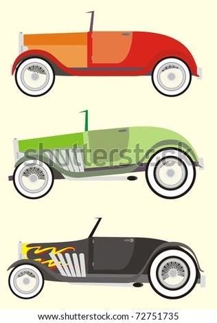Three colorful high performance hot rods / tuned up vintage cabriolets - color vector cartoon illustration set