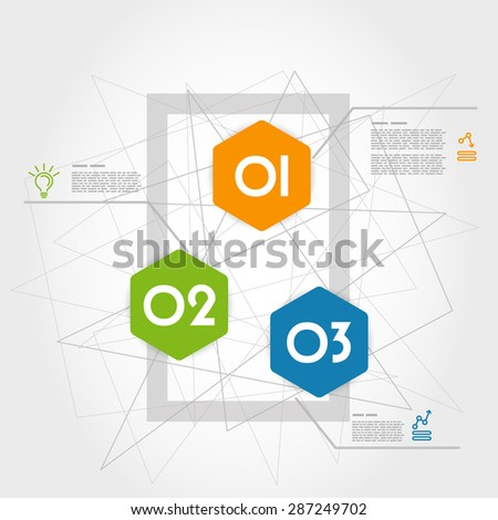 three colorful infographic hexagonswith rectangle. infographic concept.
