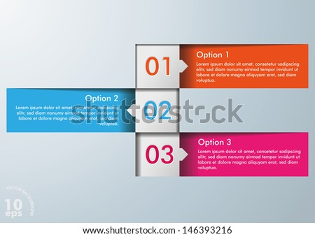 Three colorful option squares on the white background. Eps 10 vector file.