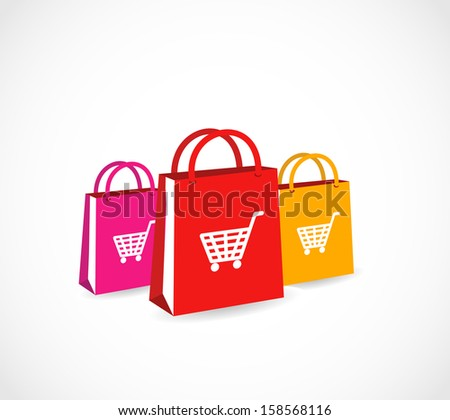Three colorful paper shopping bags with basket icon VECTOR