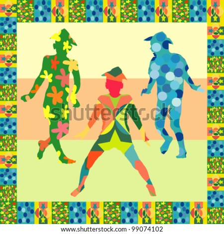 Three colorful silhouettes of a happy boy - stock vector