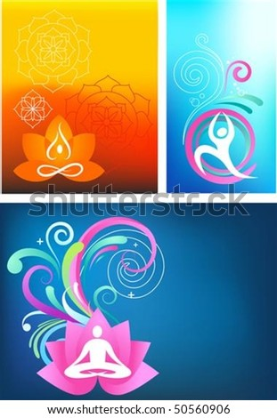 Three colorful yoga backgrounds - stock vector