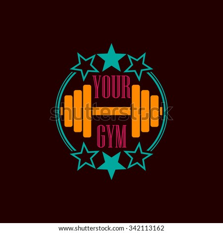 Three Colors Gym Symbol Text Eps 10 Stock Vector Royalty Free