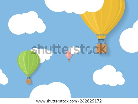 Three coloured aerostats in blue skies with clouds flat illustration - stock vector