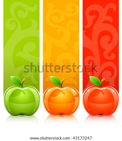 three coloured apples on decorative background - vector illustration - stock vector