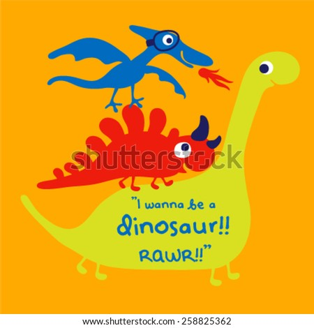 Three colourful cute dinosaurs playing. Vector illustration   - stock vector