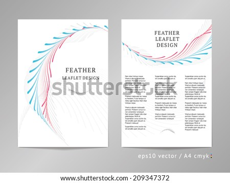 Three-column double sided vector leaflet / brochure / cover / flyer layout template with two-colored classic laurel ornament illustration. A4, eps10, cmyk. - stock vector