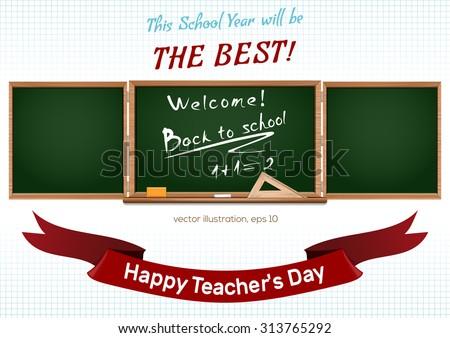 Three components chalkboard. Back to school. Happy teacher's Day. Vector illustration - stock vector