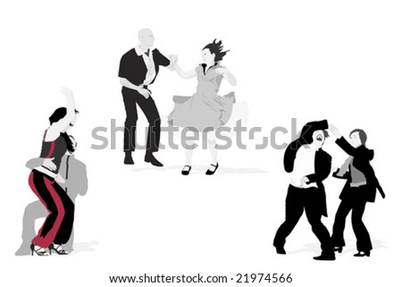 three couples dancing, vector collection - stock vector