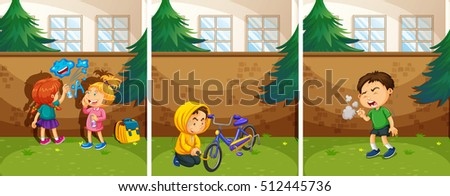 Three crime scenes at the park illustration