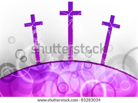 three cross on the purple hill - stock vector