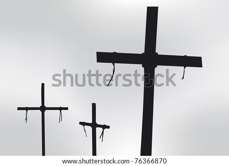 Three Crosses in silhouette in front of a gray sky - stock vector