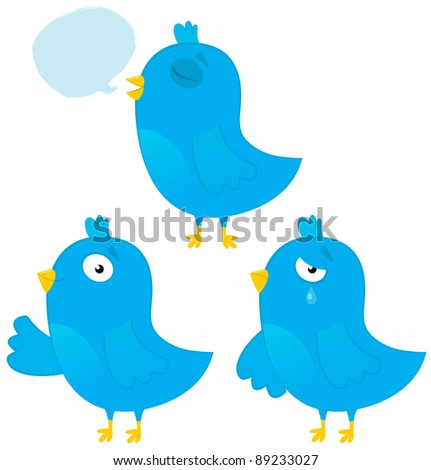 Three Cute Cartoon Blue Birds Vector Set: Smiling, Crying, Singing - stock vector