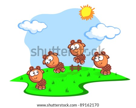 Three Cute cartoon the sheep jump through fence. Children vector scene of bright colors. Consider the sheep to fall asleep quicker. The Fun. - stock vector